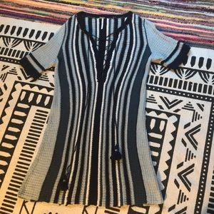 Free people blue striped dress size small